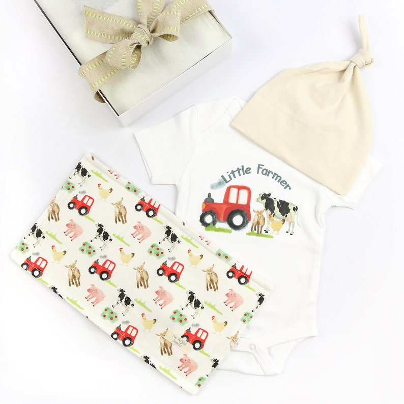 c9e44924ce91b Farm Animals Baby Clothes, Gender Neutral Baby, Organic Baby Clothes, Baby  Gift, Baby Bodysuit, Baby Shower Gift, knot cap, washcloth