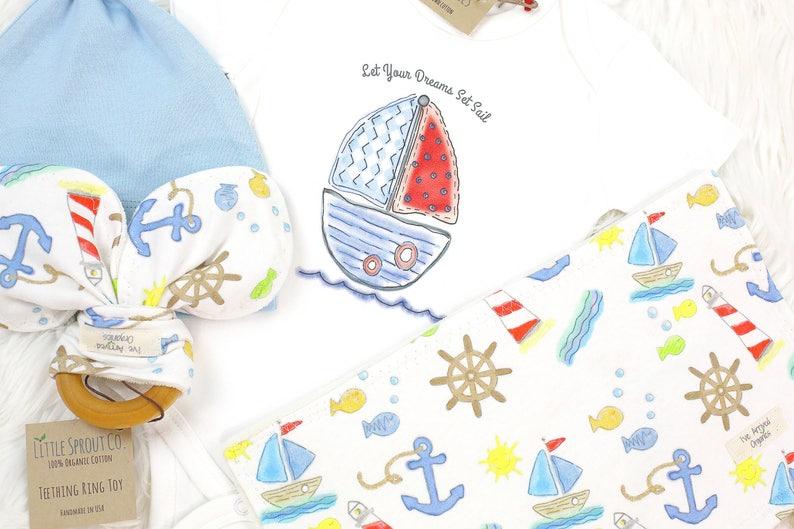 Organic Handmade Set Organic Baby Clothes Organic Baby Outfit Baby Boy Clothes Baby Boy Outfit Sailboat Nautical Baby Clothes