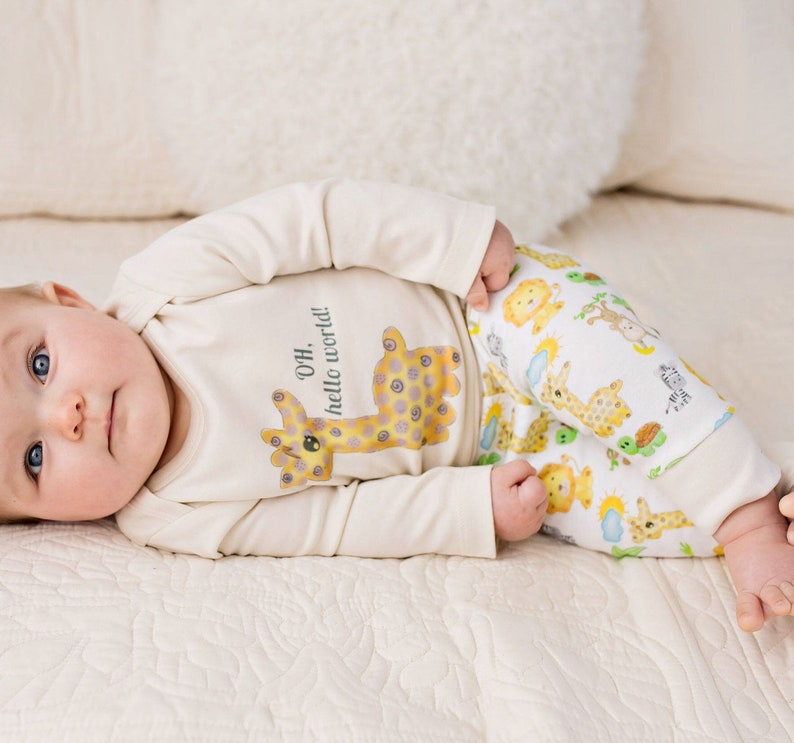 new product cd1e5 f68e0 Bio Babykleidung, Giraffe Safari Baby-Outfit, Bio-Babykleidung,  Gender-Neutral, Baby-Leggings, Baby-Tiere, Bio-Babykleidung