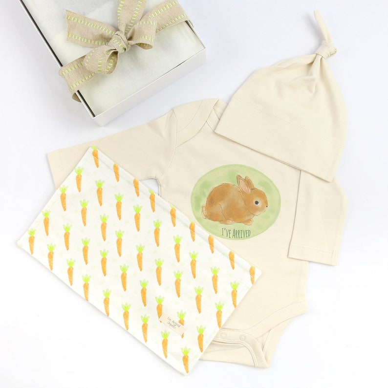 Organic Baby Clothes burpcloth Bunny Baby Clothes Baby Gifting Baby Shower Gift washcloth Baby Bodysuit knot cap Gender Neutral Baby