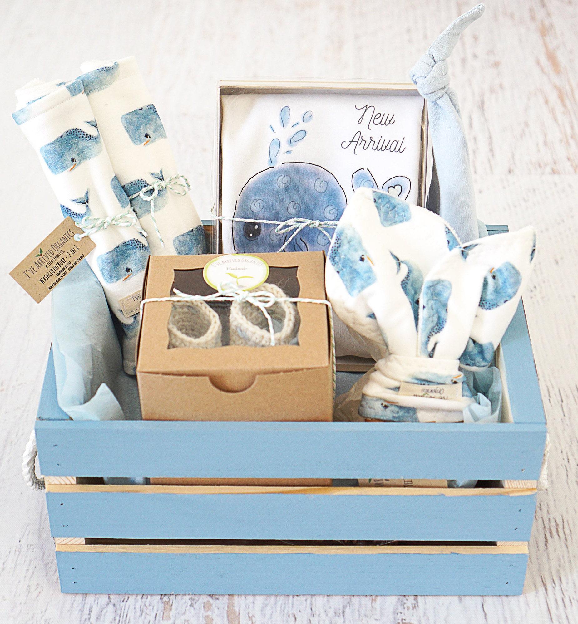 Baby Boy Gift Basket Nautical Whale Theme Organic Handmade