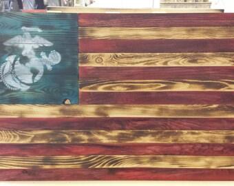 Marine Corps Rustic, Reclaimed, Pallet Wood, Patriotic, Wall Hanging