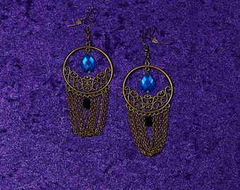 Antique Bronze Teardrop Chain Earrings