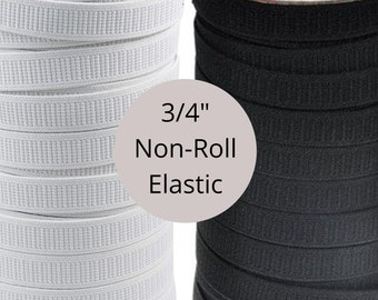wide 20mm 3//4 inch Black Flat Woven Elastic Full Roll 25 Meters long