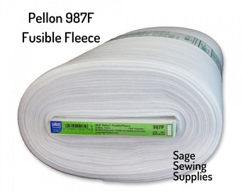 """Pellon Fusible Fleece 987F, 45"""" wide quilting interfacing, iron-on white washable lofty stabilizer by the yard"""