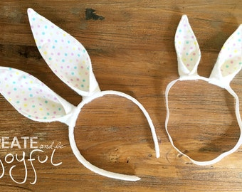 Easter Bunny Rabbit Headband Ears PINK white dot with or without Flowers  White Baby Child Kid Teen Basket Costume Elastic Band Baby