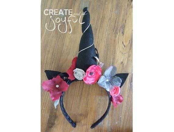 Mädchen Haarschmuck Einhorn Haarreif mit Horn Katzenohren Blumen
