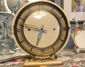 French Art Deco Brass and Bakelite Mechanical Shelf Clock, Excellent Working Condition, c. 1930 39 s