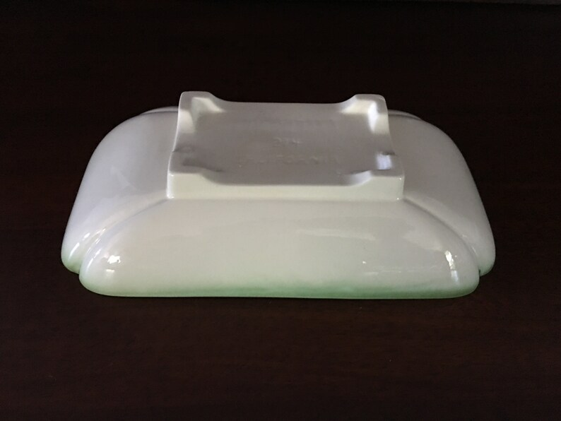 1950 Collectors/' Condition c Mid-Century California Pottery #214 Light Green and Cream Oblong Pedestal Serving Bowl