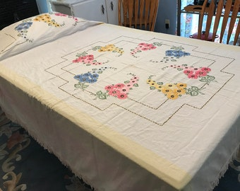 Vintage Linen Twin Sized Bed Coverlet, Summer-weight Bedspread, Floral Hand Embroidered, with Mop Trim, c. 1930's