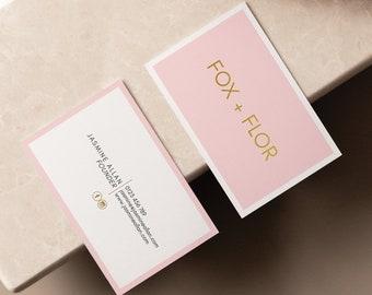 Editable Blush Pink and Gold Business Card Design, Corjl Template, Feminine, Photographer, Blogger, Hairdresser, Branding, Minimalist, DIY