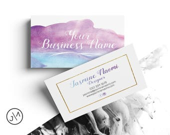 Business card design template blush pink gold feminine etsy business card design watercolour template double sided small business business business identity stationery pre made gold floss colourmoves