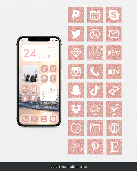 ios 14 rose gold glitter aesthetic icon set 166 icon set app etsy ios 14 rose gold glitter aesthetic icon set 166 icon set app icons facebook pinterest iphone apps social media graphics apple apps
