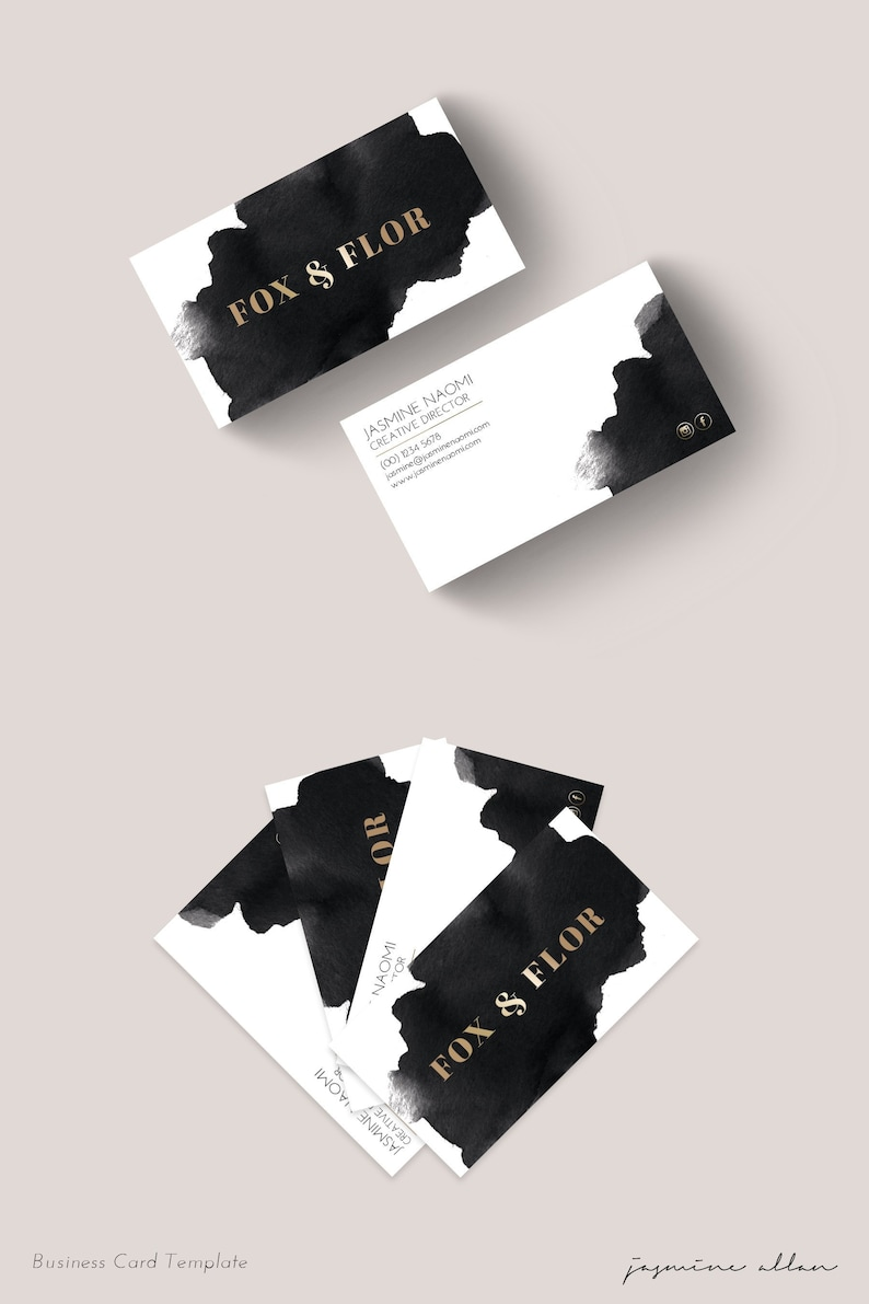 fb8a7508b9f67d Premade Business Card, Watercolor Business Card, PSD Template, Entrepreneur  Branding, Black and Gold, Edgy Minimalist Branding, DIY Card