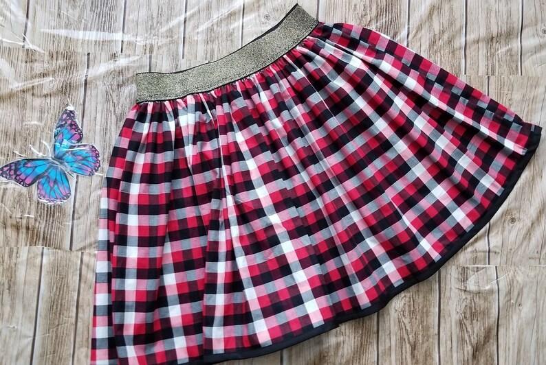 fbefb5065c03 Christmas Cotton Fabric Red Black White Plaid Elastic Waist | Etsy