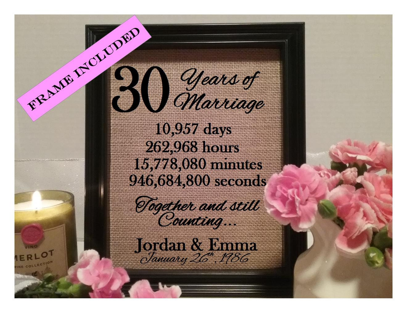Personalized 30th Anniversary Gift 30th Wedding Anniversary Etsy