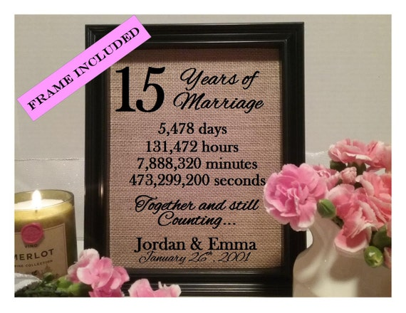 Framed 15 Year Anniversary Gift 15th Year Anniversary Gift Etsy