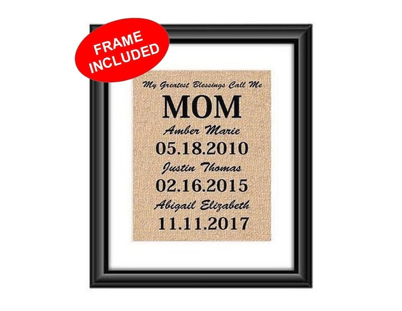 FRAMED Birthday Gift For Mom Cotton Or Burlap Print