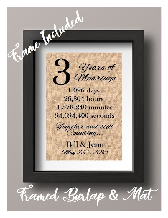 Framed 3 Year Anniversary Gift For Him 3rd Year Anniversary Etsy