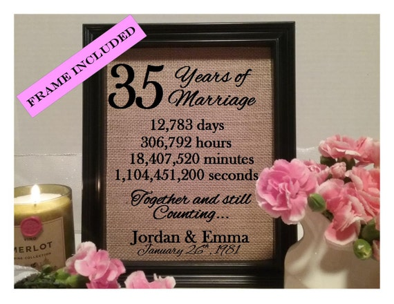 35 Year Wedding Anniversary Gifts: Personalized 35th Anniversary Gift 35th Wedding Anniversary