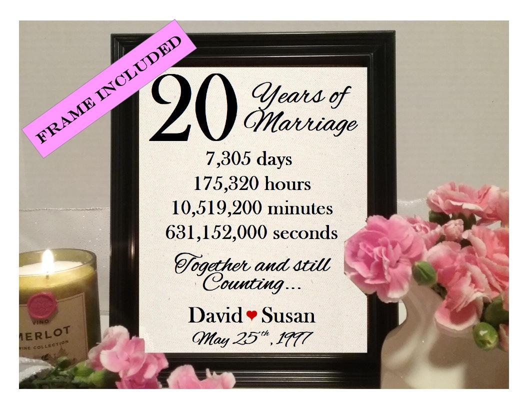 Twenty Year Wedding Anniversary Gift: 20 Year Anniversary Natural Cotton Print 20th Wedding