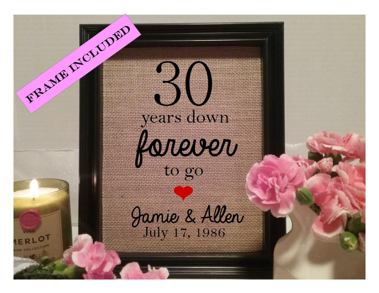 30 Year Wedding Anniversary Gift 30th Wedding Anniversary Etsy