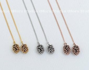 Dainty PineCone Chain Earrings, Leaf Threader Earrings, Personalized Pine Cone Earrings, Initial Leaf, Ear Threader, Pinecone Jewelry 144