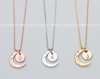 I Love You to the Moon & Back Necklace, Crescent Moon and Initial Disc, Minimalist, Wedding Gift, Bridal Shower, Gift for Her, NCR120