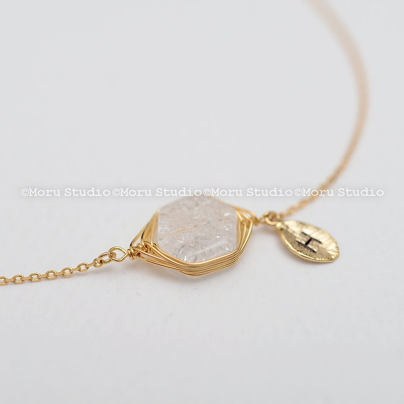 Personalized Crystal Bracelet/ Clear Quartz Crystal, Cracked Crushed  Gemstone Bracelet, Bridesmaids Gift, Friendship Bracelet BSC052
