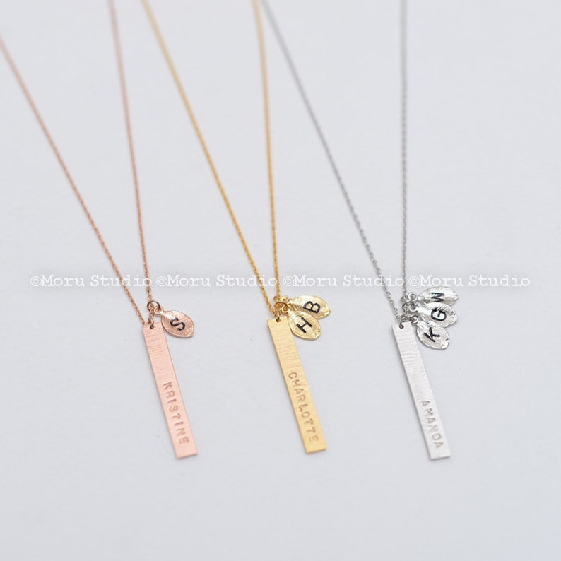 Rose Gold Necklace Mother/'s day gift Personalized Initial Bar Everyday jewelry Hand Stamped Handmade Simple Friends Gift Bridal Party Gifts