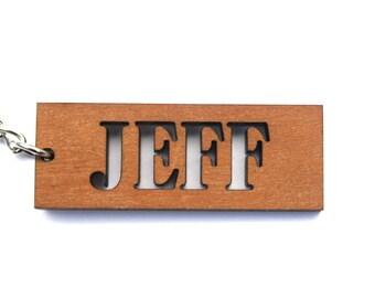 Cherry Wood Name Keychain - Wood Keychain - Custom Engraved Wood Keychain - Personalized Wood Keychain