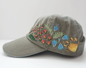 c4603bda83f Hand Embroidered Baseball Cap-Hat- Custom Embroidery- Floral Designs- Floral  Embroidered Hat-Unique Gift-Dusty Gray Hat