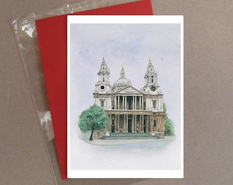 "St Pauls Cathedral, London card 5 x 7"" with envelope"