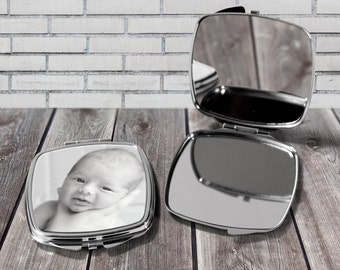 Personalised compact mirror, Your photo here, Personalised with your own photo, Gift for her, Birthday gift