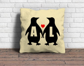 Couple cushion, Penguin cushion, Couple gift, Engagement gift, Wedding gift, Personalised cushion, Personalised pillow, Cushion cover only