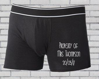 Groom boxer shorts, Personalised boxers, Groom underwear, Wedding boxers, Groom gift, Groomsmen boxer shorts, Property of Mrs, Wedding gift