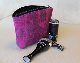 Pink and purple leather change purse Coin purse