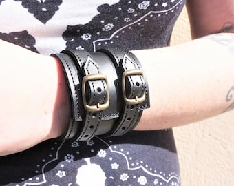 6 cm wide unisex force bracelet in soft black leather ready to ship
