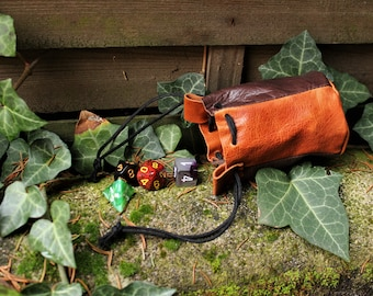 purse for dice; medieval scholarship; Leather purse; Cosplay leather purse; storage for the dice;  Viking scholarship; Larp