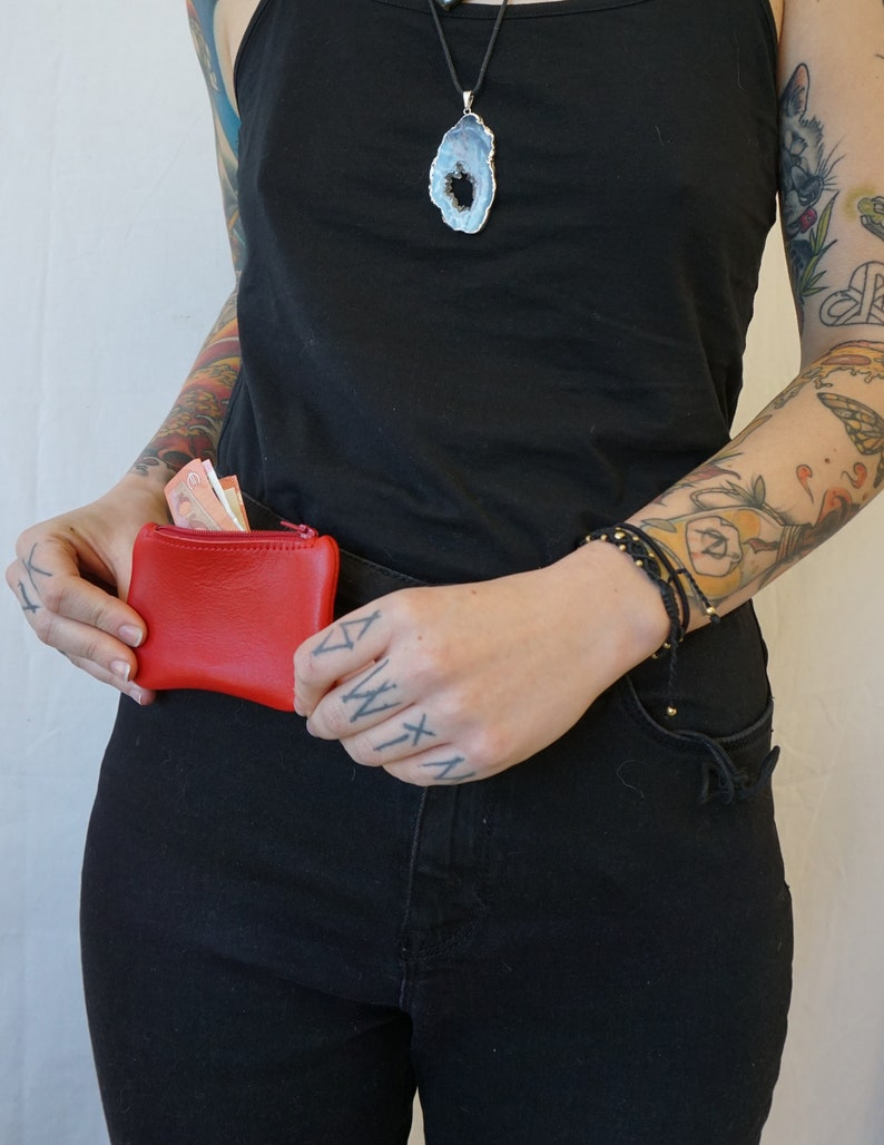 minimalist gift idea Red leather wallet coin purse made in France Leather wallet
