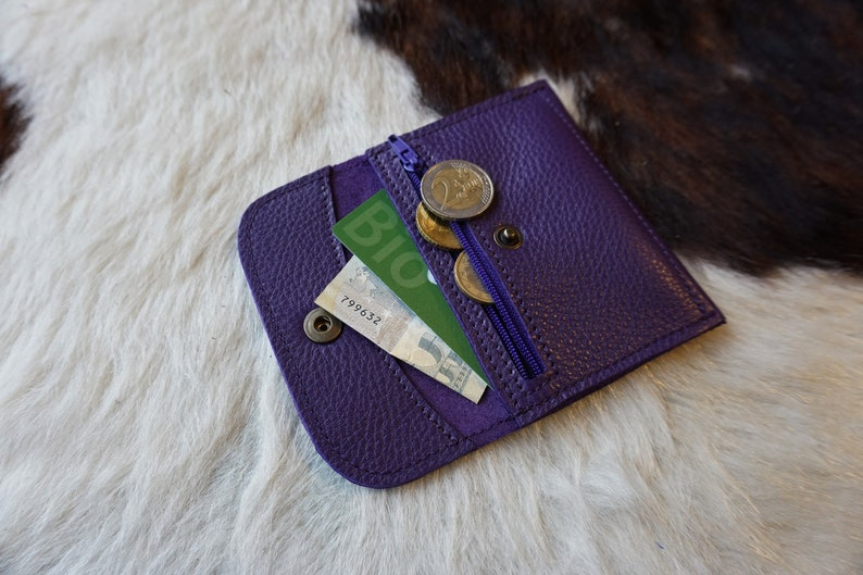 Leather wallet purse purple; wallet made in France