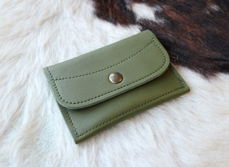 purse made in France; minimalist gift idea Green purse; Purse in green leather