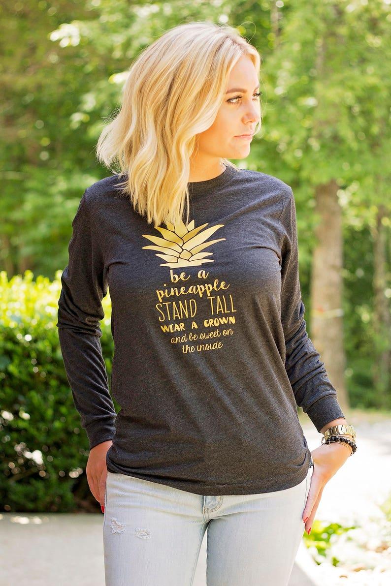 aa05efebbb45 Pineapple Shirt Long Sleeve Pineapple Tshirt Gold Pineapple | Etsy