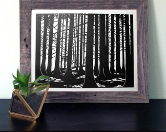 Forest Linocut Print