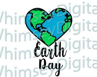 Earth Heart SVG Earth Day Digital Download Cutting File, Digital Cutter Design for htv, vinyl,