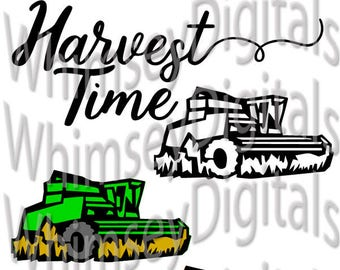 Harvest Time Combine Digital Download SVG Cut File, Farm Grain Harvesting Vinyl Cutting, Thanksgiving Tshirt, Decor, SVG, Studio3, MTC