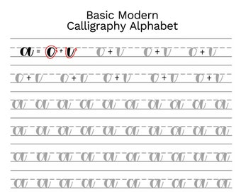Basic Modern Calligraphy Practice Sheets by @theinkyhand -- Lowercase Alphabet // DIGITAL DOWNLOAD