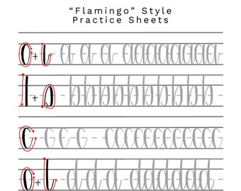 Flamingo Style -- Brush Calligraphy Practice Sheet Set // DIGITAL DOWNLOAD