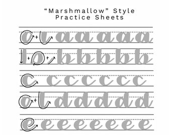 Marshmallow style -- Brush Calligraphy Practice Sheet Set