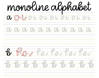 Monoline Practice Sheets // DIGITAL DOWNLOAD